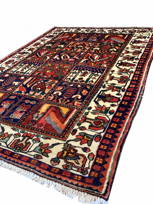 "Vintage Persian Bakhtiari 4' 1"" x 6' 7"" Handmade Wool Area Rug - Shabahang Royal Carpet"