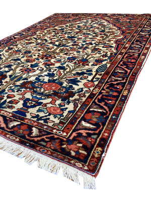 "Antique Persian Bakhtiari 4' 5"" x 6' 5"" Handmade Wool Area Rug - Shabahang Royal Carpet"