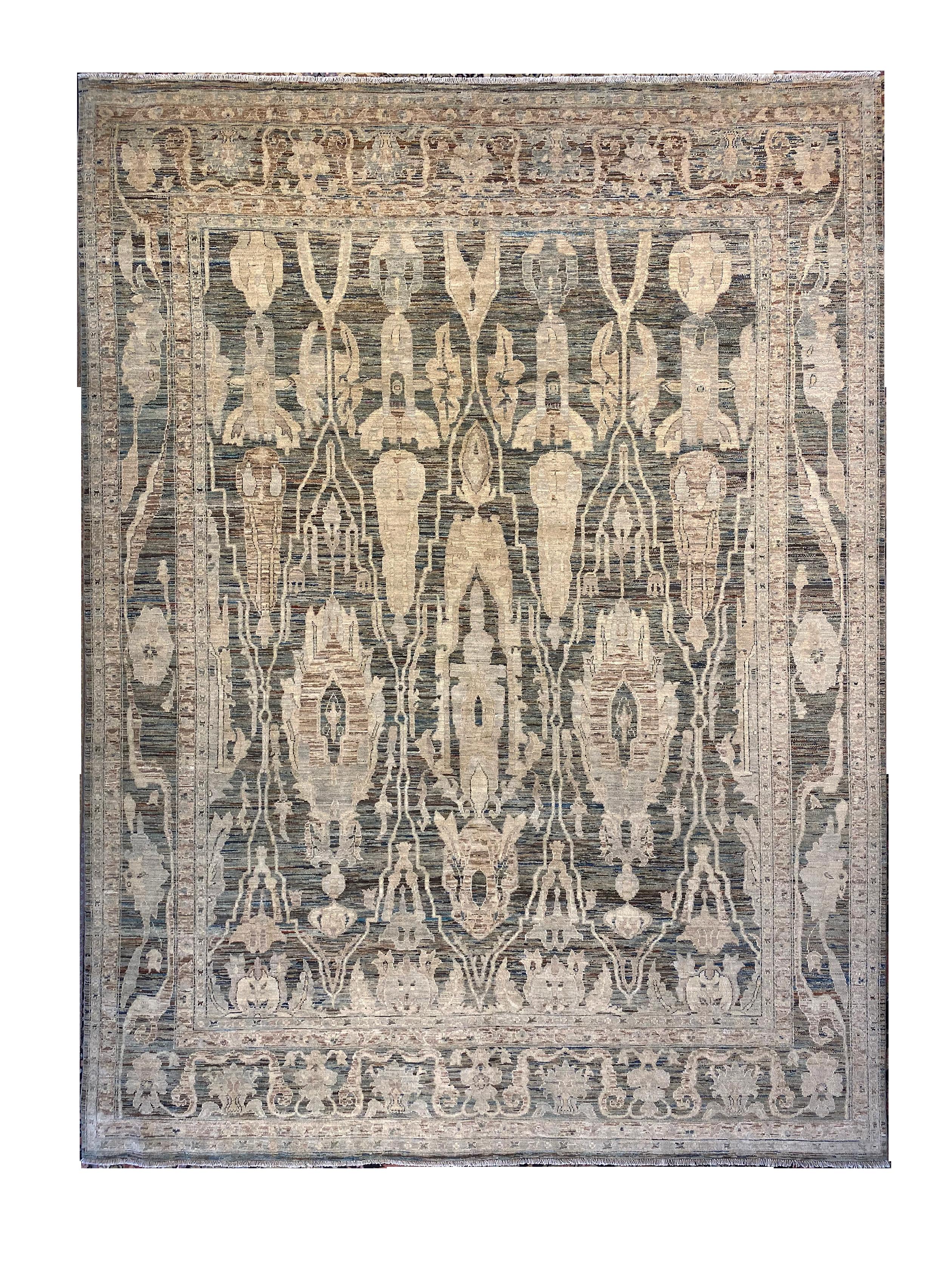 "Modern Oushak 9' 7"" x 12' 9"" Handmade Area Rug - Shabahang Royal Carpet"