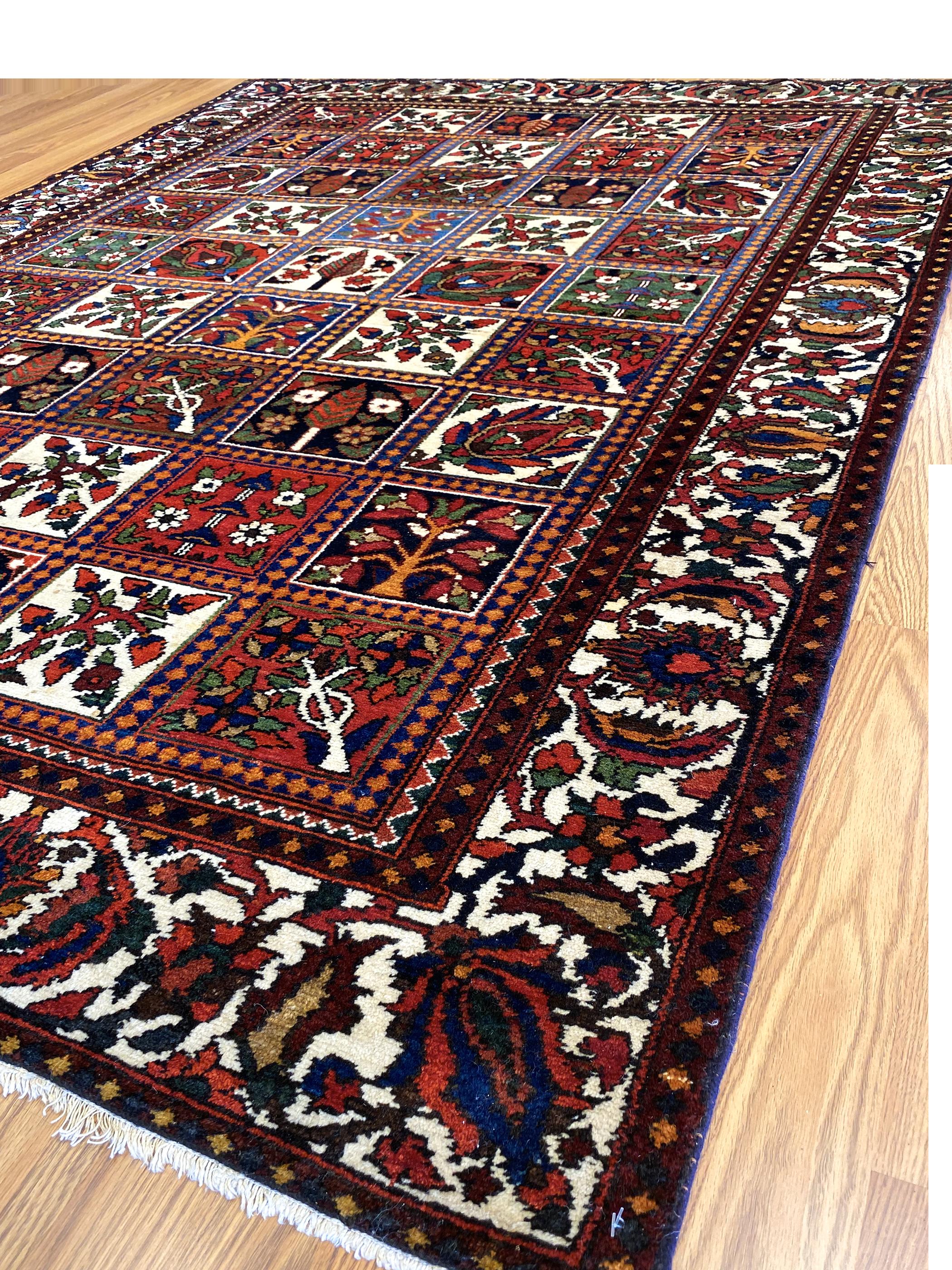 "Antique Persian Bakhtiari 4' 8"" x 6' 10"" Handmade Wool Area Rug - Shabahang Royal Carpet"