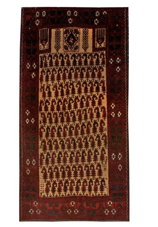 "Balouchi Tribal 3' 2"" x 5' 9"" Beige Wool Handmade Area Rug - Shabahang Royal Carpet"