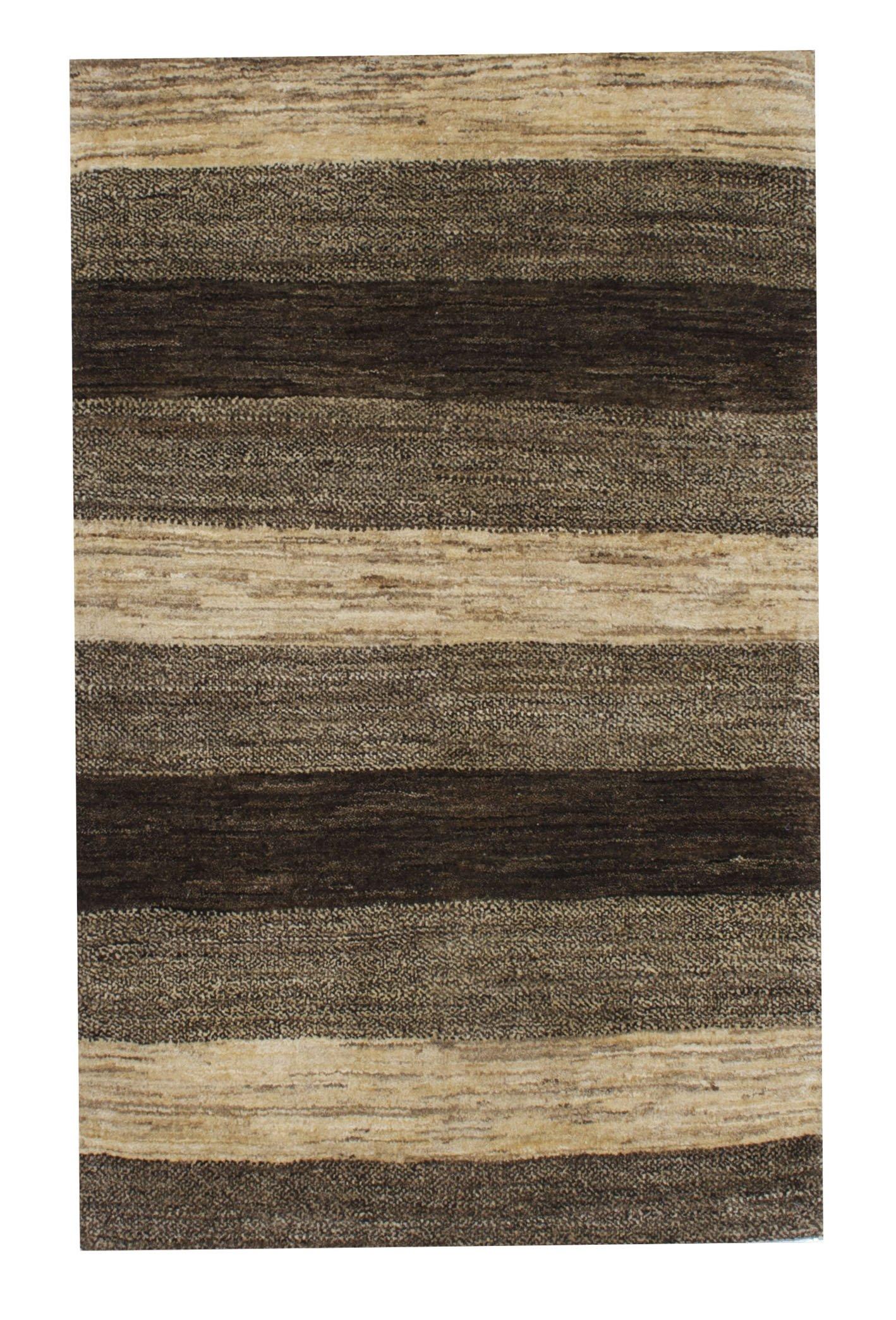 """Gabbeh 2' 7"""" x 4' Undyed Natural Wool Handmade Area Rug - Shabahang Royal Carpet"""