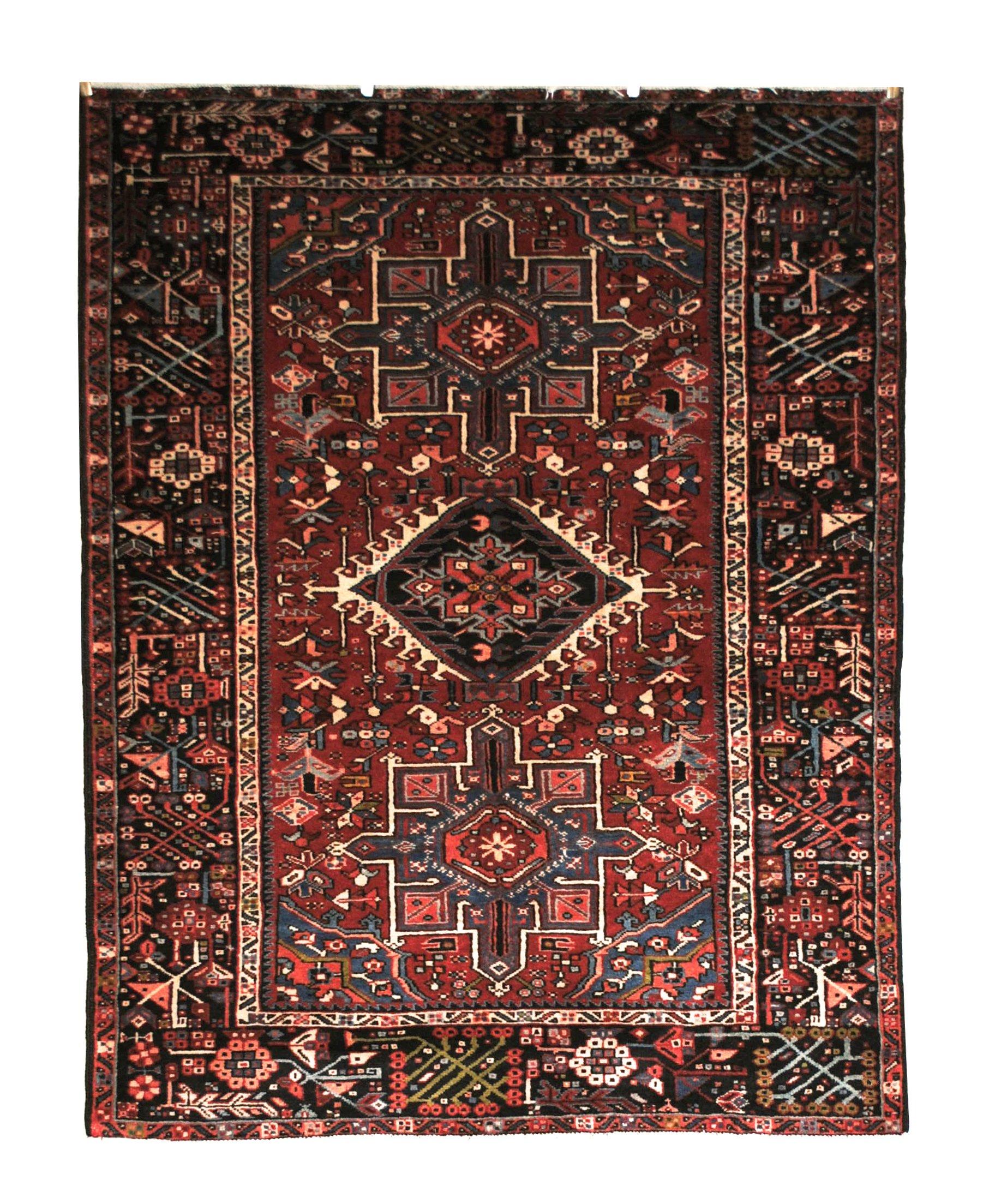 "Antique Persian Karajeh 4' 9"" x 6' 2"" Handmade Wool Area Rug - Shabahang Royal Carpet"