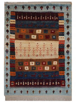 "Persian Gabbeh 4' 4"" x 5' 11"" Wool Handmade Area Rug - Shabahang Royal Carpet"