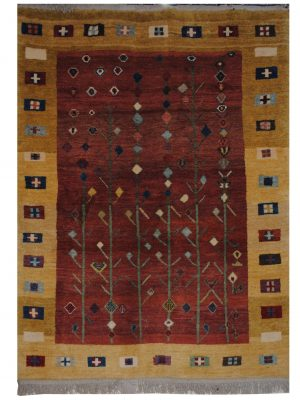 "Persian Gabbeh 4' 10"" x 6' 10"" Wool Handmade Area Rug - Shabahang Royal Carpet"