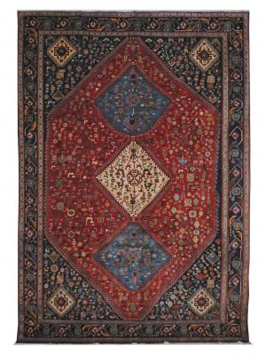 "Vintage Persian Ghashghaei 6' 5"" x 9' 6"" Handmade Wool Area Rug - Shabahang Royal Carpet"