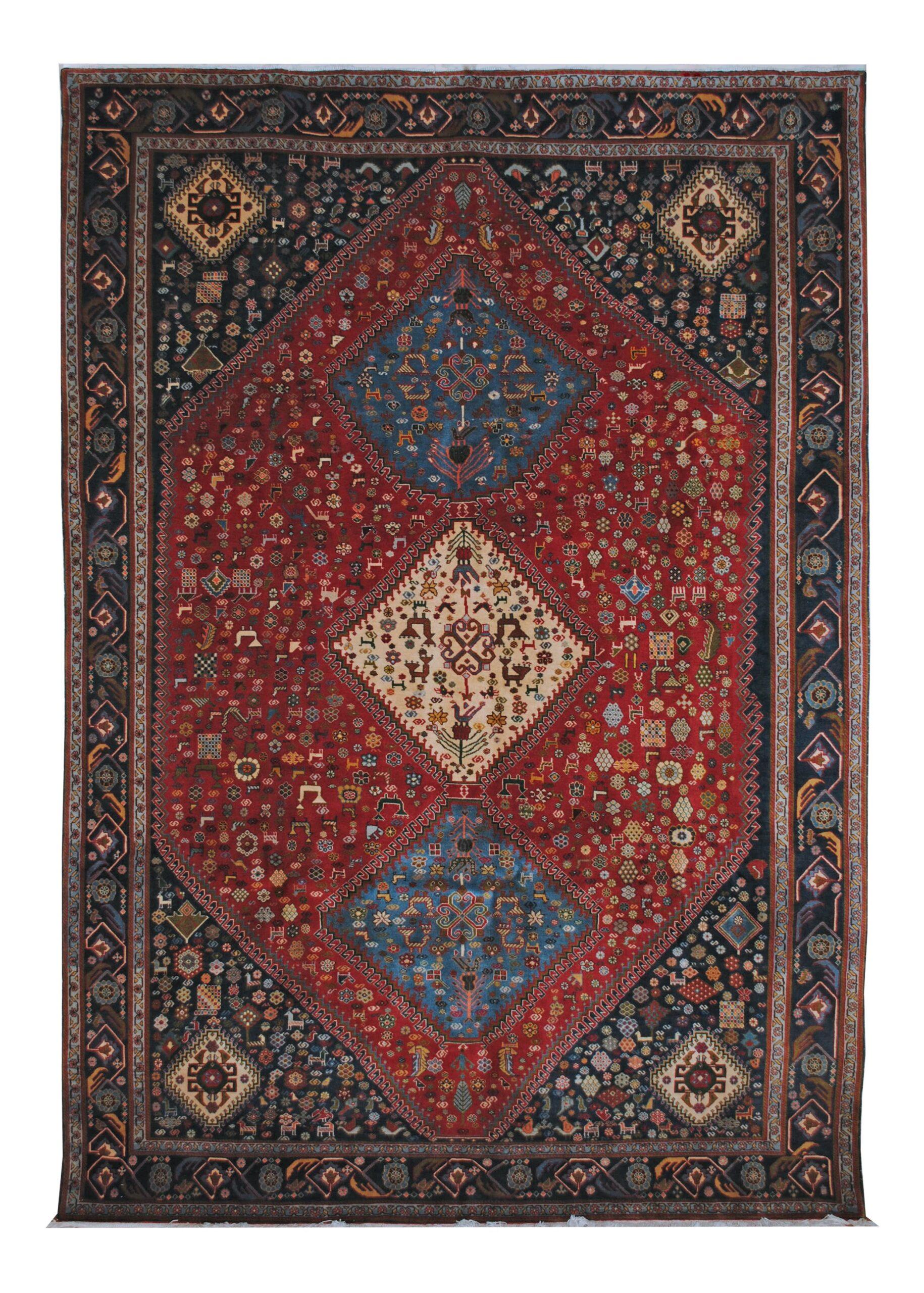 "Vintage Persian Ghashghaei 6' 5"" x 9' 6"" Handmade Wool Area Rug - Shabahang Royal Carpet"