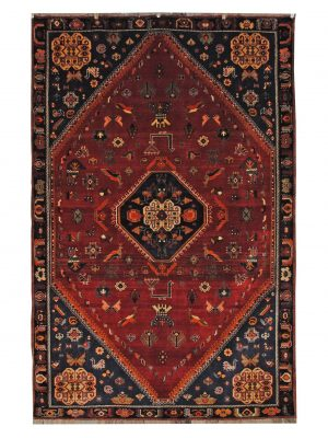 "Antique Persian Ghashghaei 5' 2"" x 8' Handmade Wool Area Rug - Shabahang Royal Carpet"