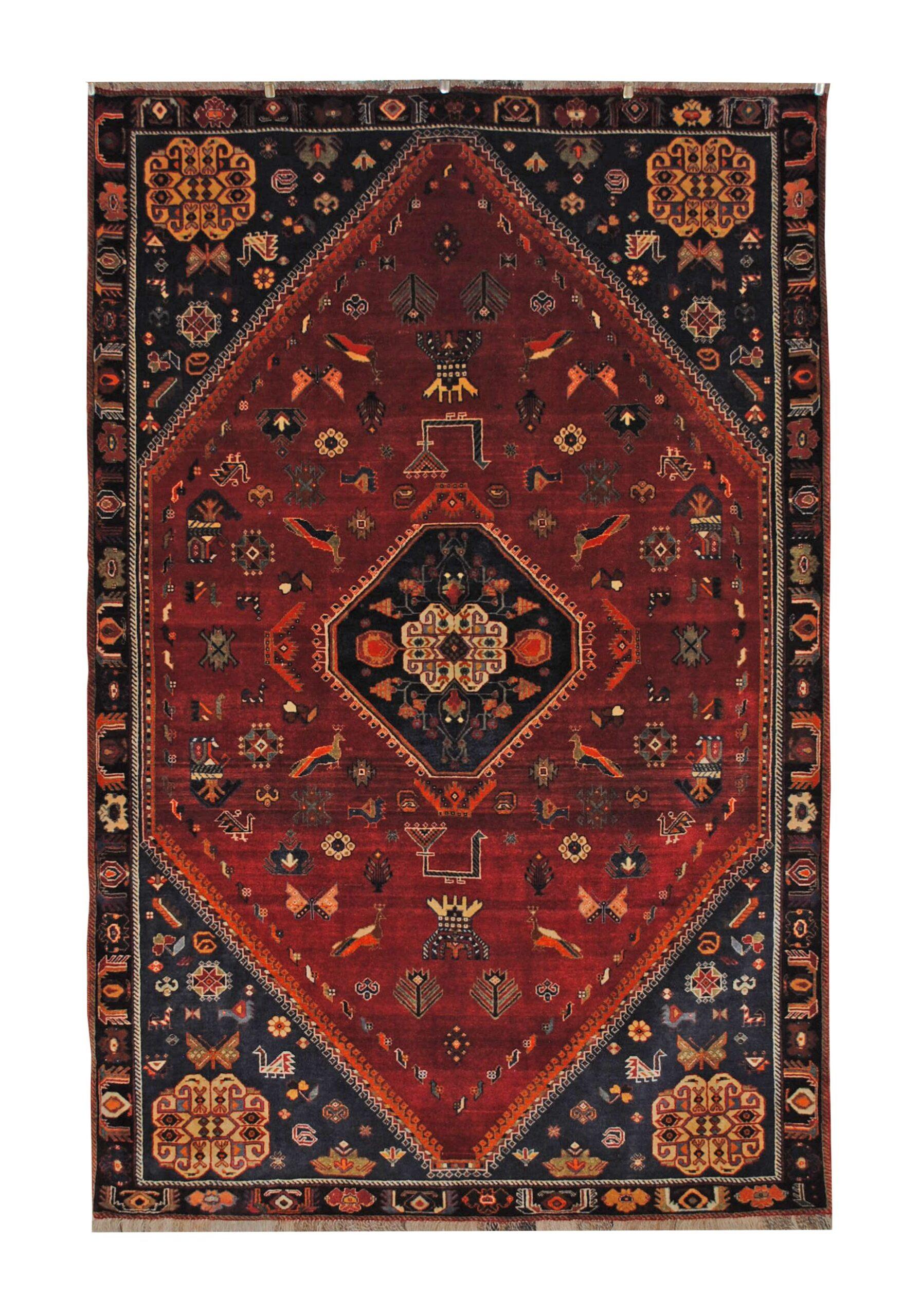 "Antique Persian Ghashghaei 5' 2"" x 8' Handmade Wool Area Rug - Shabahang Royal Carpet"