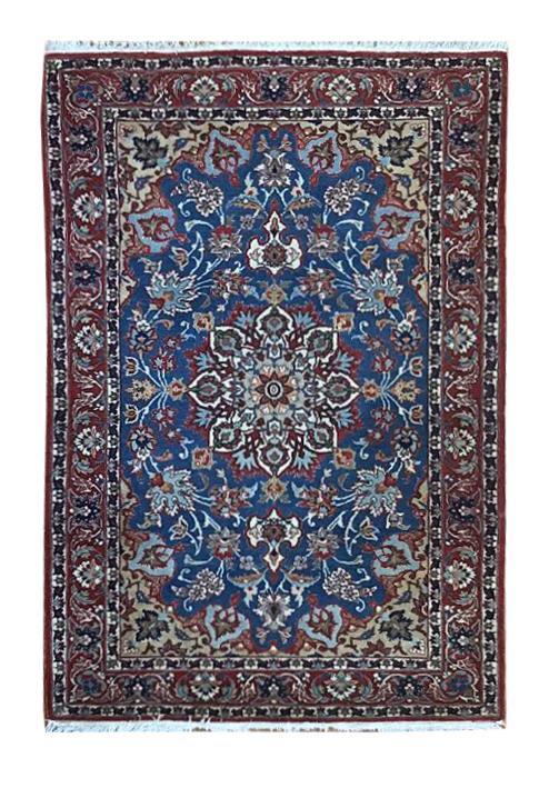"Vintage Persian Esfahan 3' 6"" x 5' 4"" Handmade Wool Area Rug - Shabahang Royal Carpet"