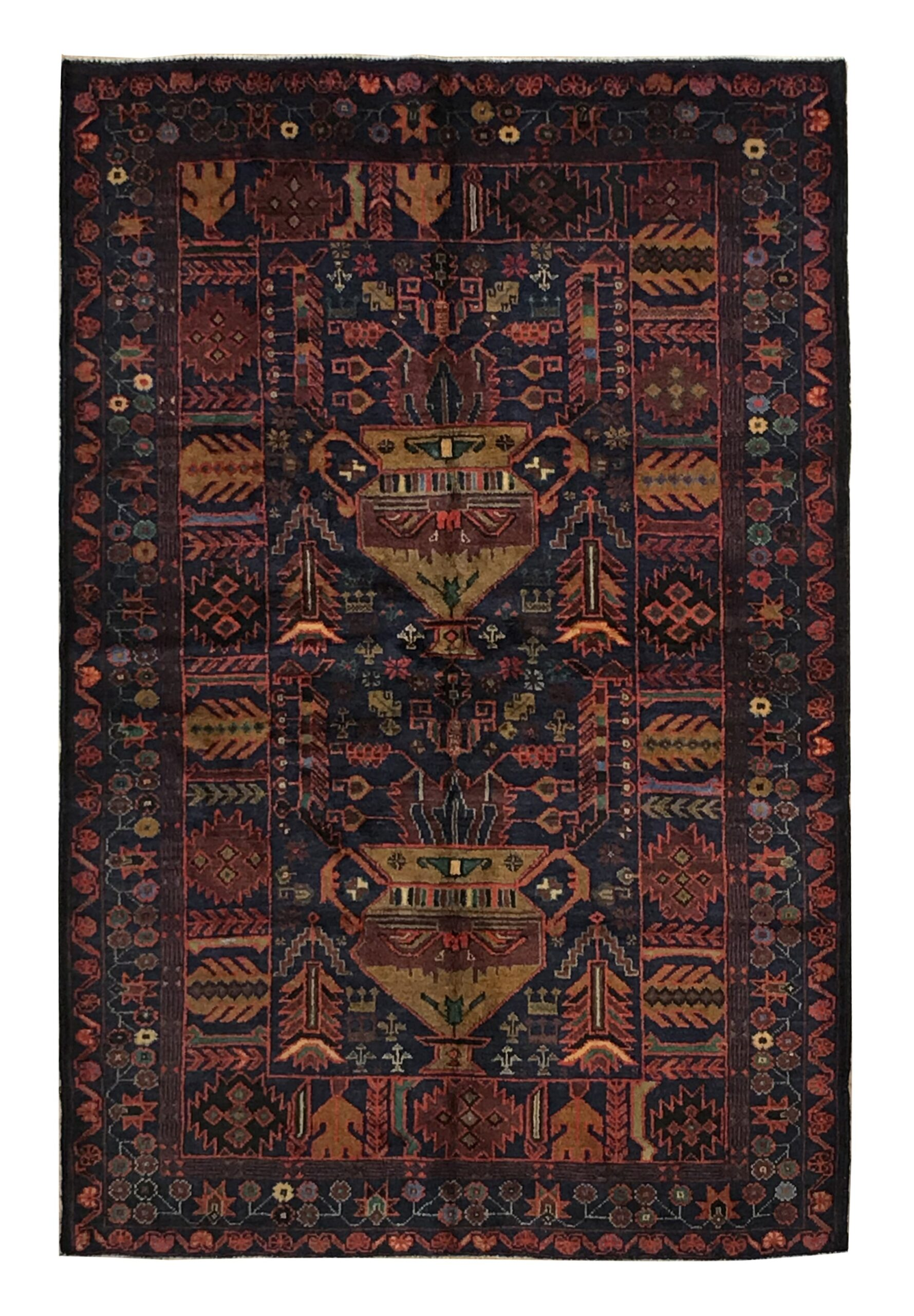 "Balouchi Tribal 4' 2"" x 6' 6"" Wool Handmade Area Rug - Shabahang Royal Carpet"