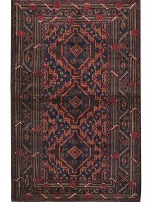 "Balouchi Tribal 3' 10"" x 6' 2"" Wool Handmade Area Rug - Shabahang Royal Carpet"