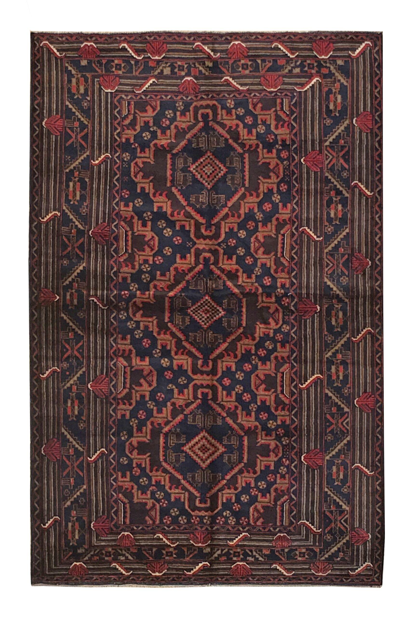 "Balouchi Tribal 3' 10"" x 6' 2"" Wool Handmade Area Rug - Shabahang Royal Carpet"