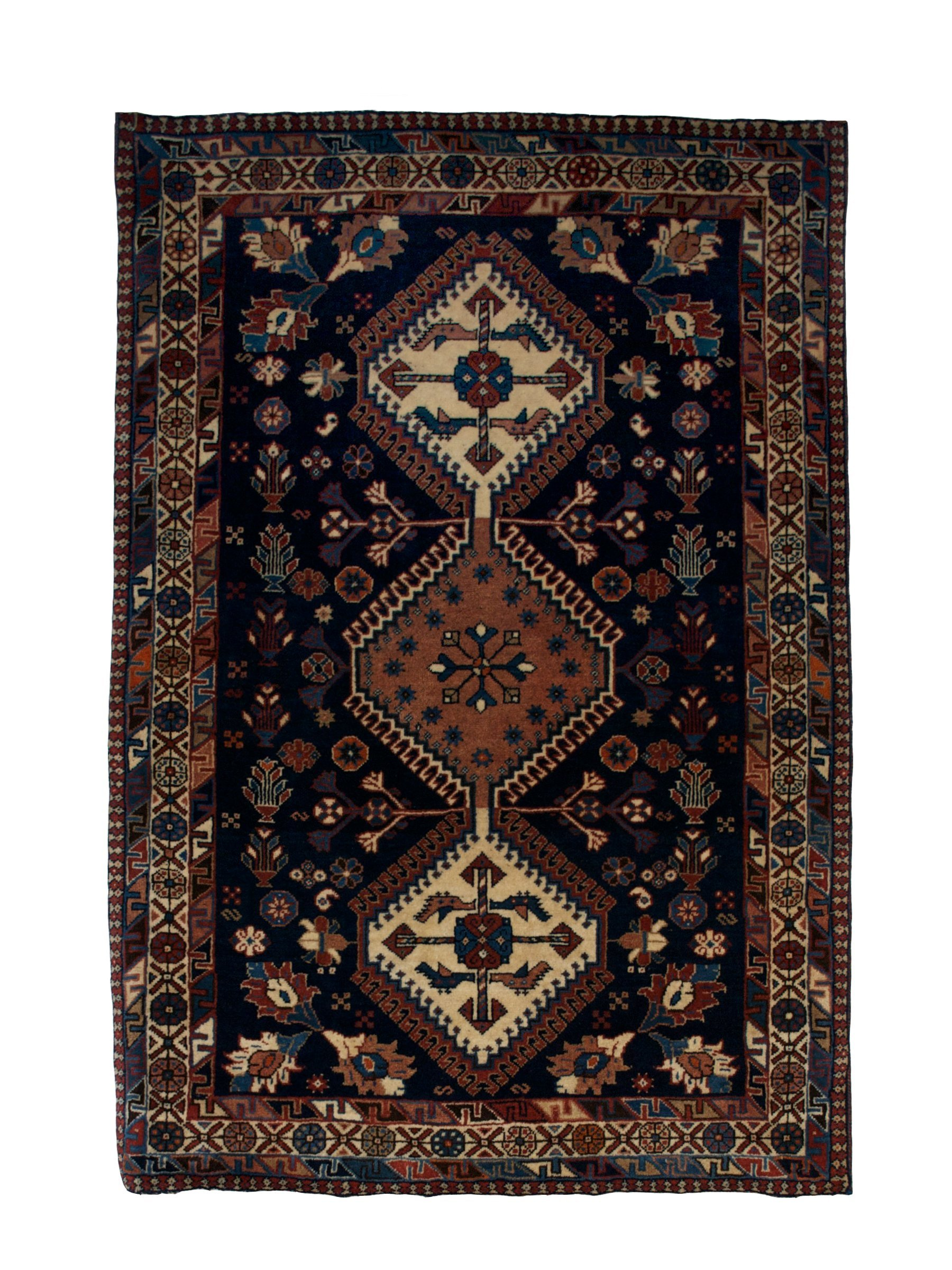 "Persian Yallameh 2' 8"" x 3' 11"" Navy Blue Wool Handmade Area Rug - Shabahang Royal Carpet"
