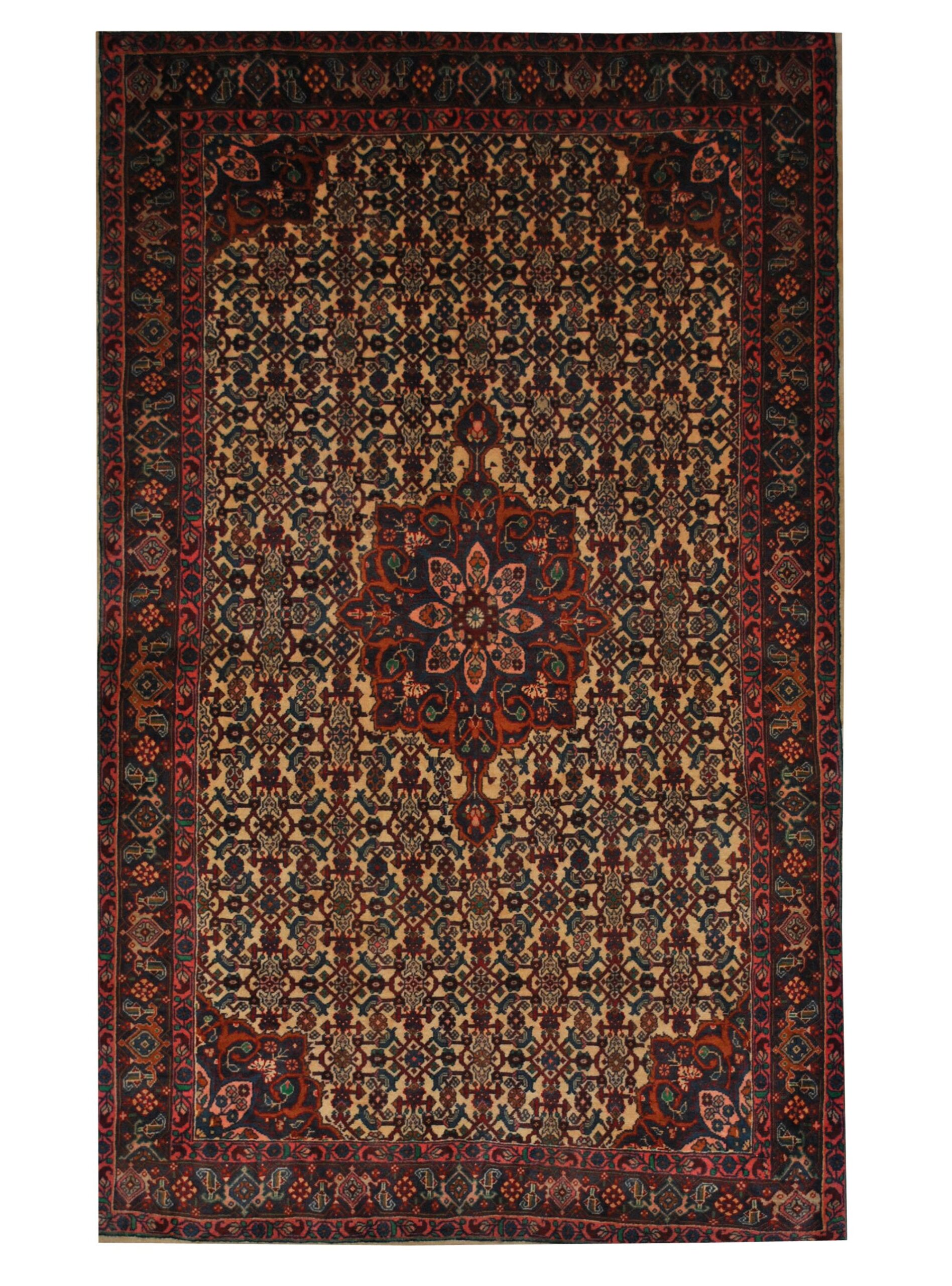 "Vintage Persian Sarouk 4' 2"" x 6' 10"" Handmade Wool Area Rug - Shabahang Royal Carpet"