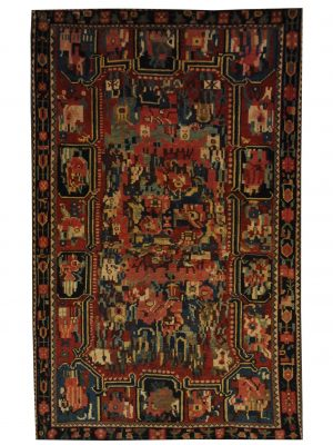 "Antique Persian Bakhtiari 4' 7"" x 6' 9"" Handmade Wool Area Rug - Shabahang Royal Carpet"