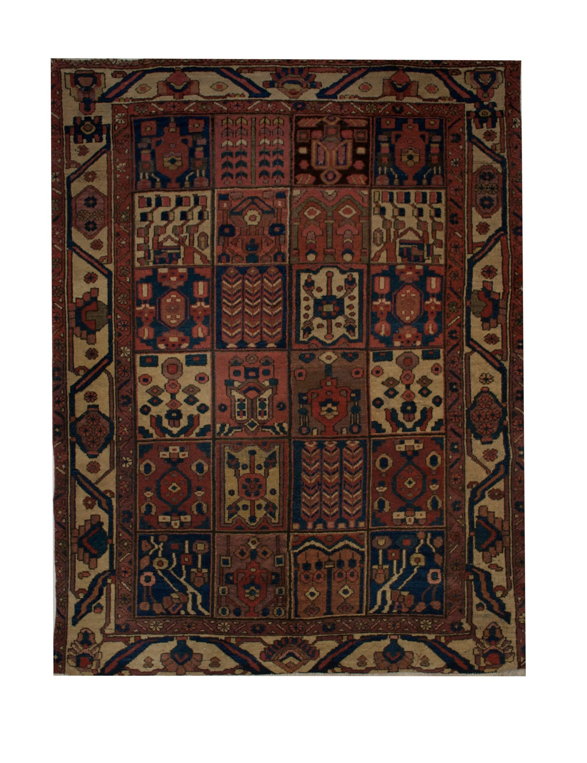 "Antique Persian Bakhtiari 5' x 6' 6"" Handmade Wool Area Rug - Shabahang Royal Carpet"