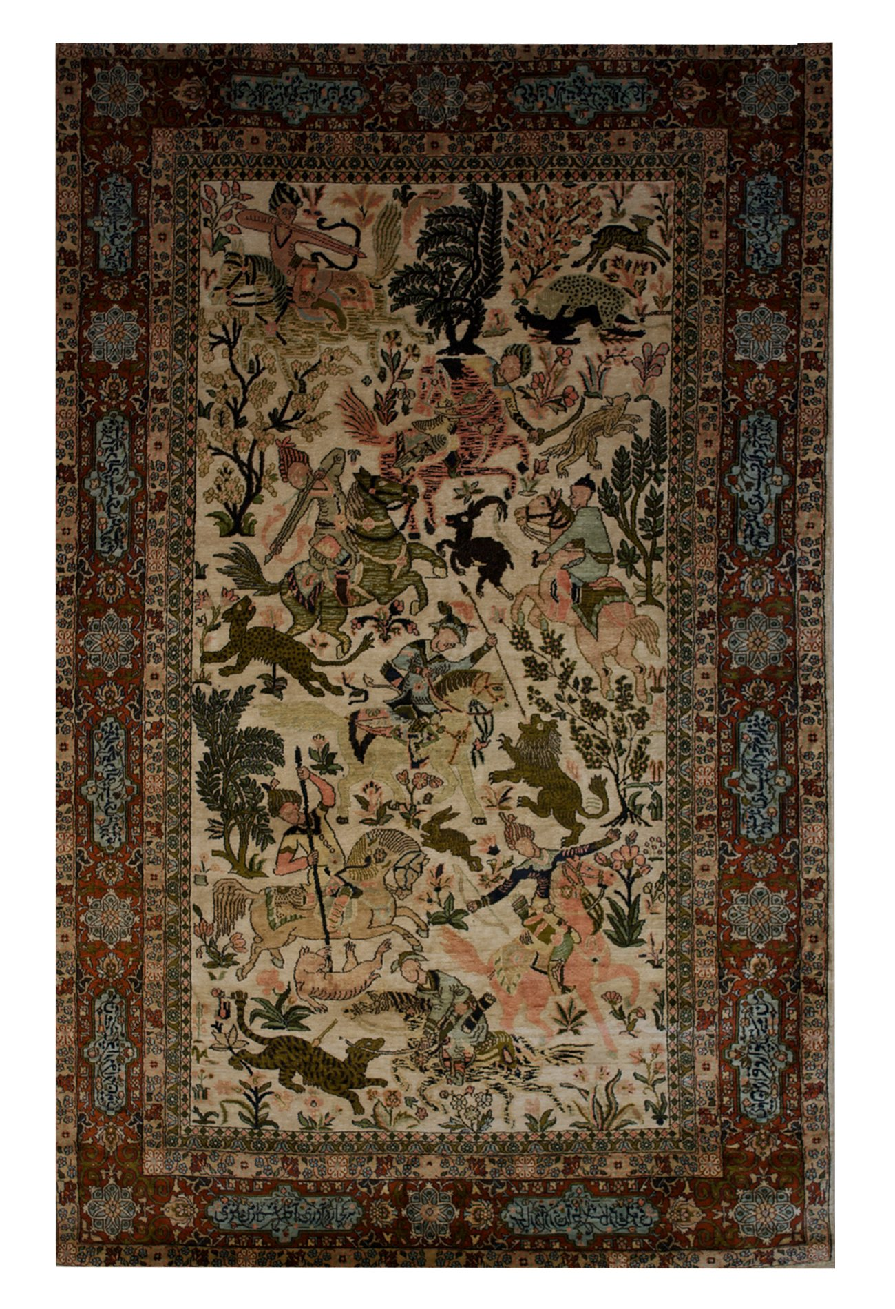 "Tabriz Hunting Scene 4' 6"" x 7' 2"" - Shabahang Royal Carpet"