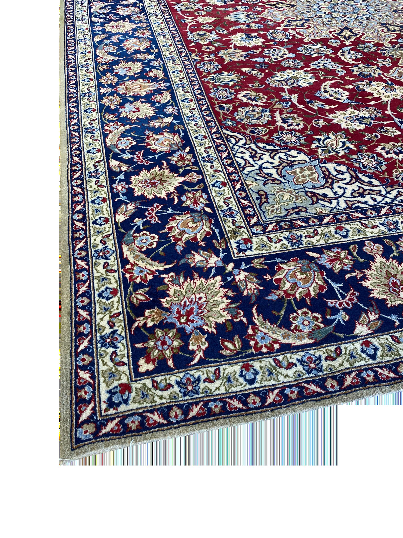 "Vintage Persian Esfahan 9' x 12' 2"" Handmade Area Rug - Shabahang Royal Carpet"