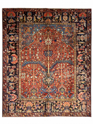 "Antique Persian Bakhtiari 10' 6"" x 12' 8"" Handmade Area Rug - Shabahang Royal Carpet"