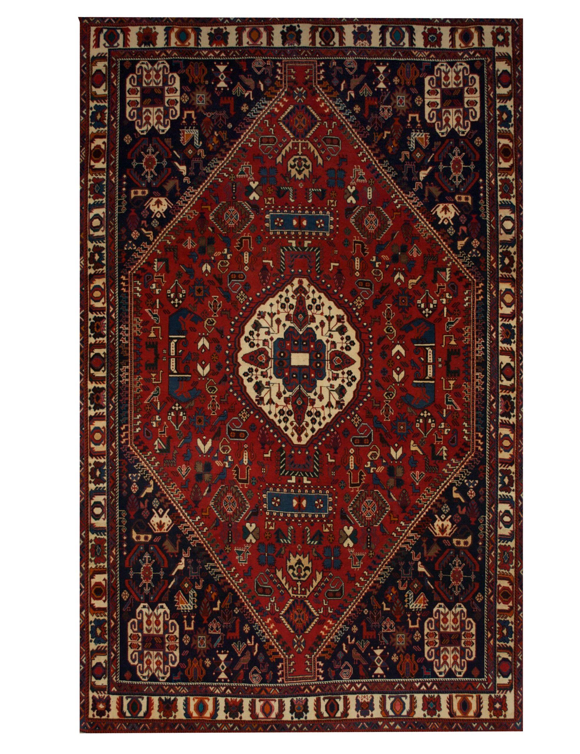 "Antique Persian Ghashghaei 5' 3"" x 8' 3"" Handmade Wool Area Rug - Shabahang Royal Carpet"