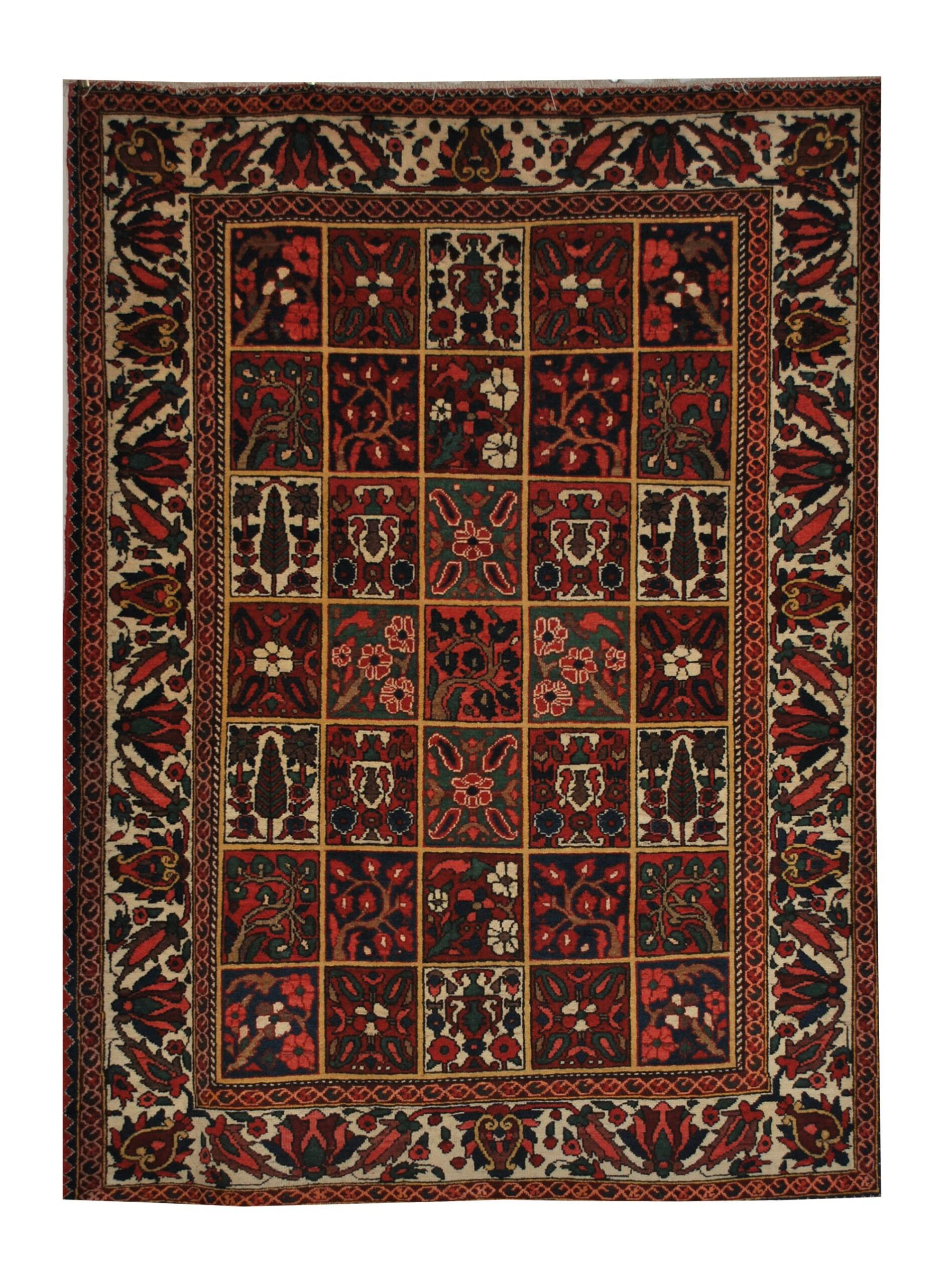"Antique Persian Bakhtiari 5' 5"" x 7' Handmade Wool Area Rug - Shabahang Royal Carpet"