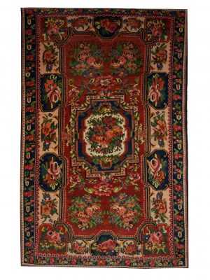 "Antique Persian Bakhtiari 4' 10"" x 7' 10"" Handmade Wool Area Rug - Shabahang Royal Carpet"