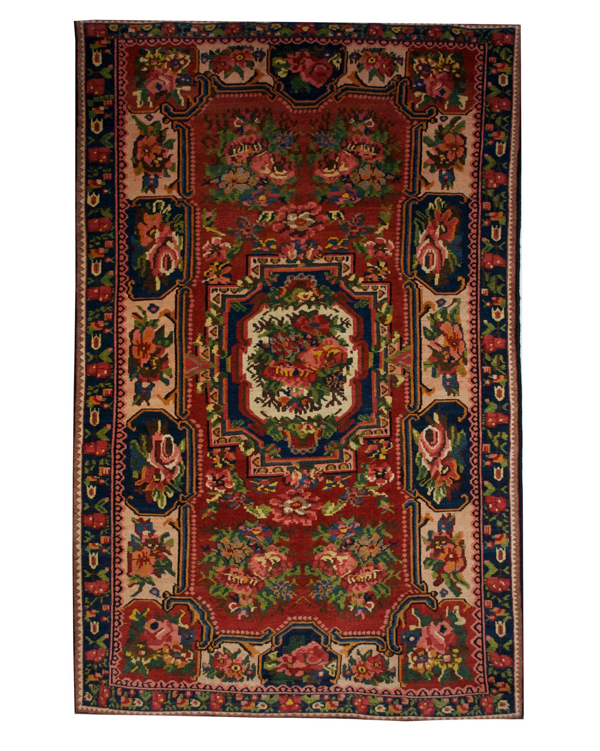 "Antique Persian Bakhtiari 4' 10"" x 7' 10"" Handmade Wool Area Rug - Shabahang Royal Carpet"